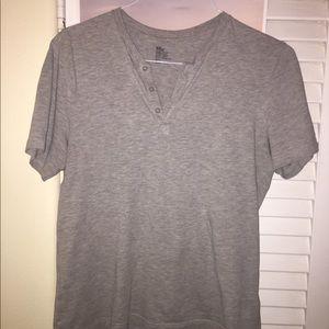 Grey T Shirt w/ button up
